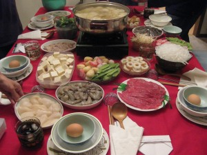 The hot pot feast at Jeff's house